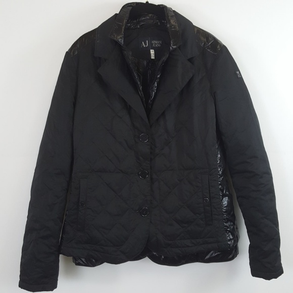 sold worldwide detailed images new photos AJ Armani jeans black quilted coat size 12